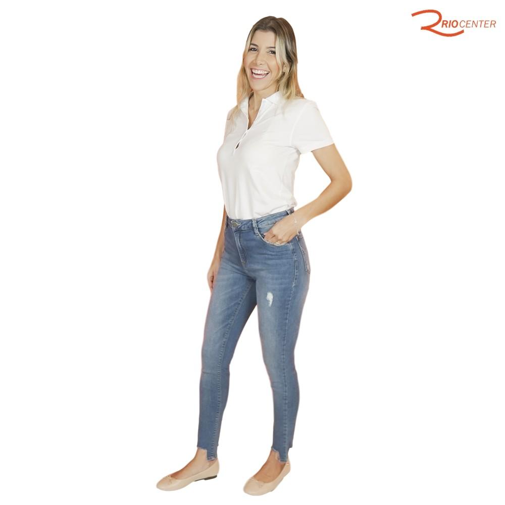 Calça Jeans Dudalina Rasgada Cintura Média