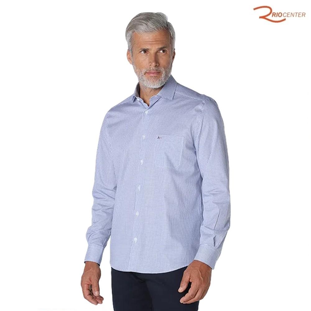 Camisa Aramis Manga Longa Micro Xadrez Azul