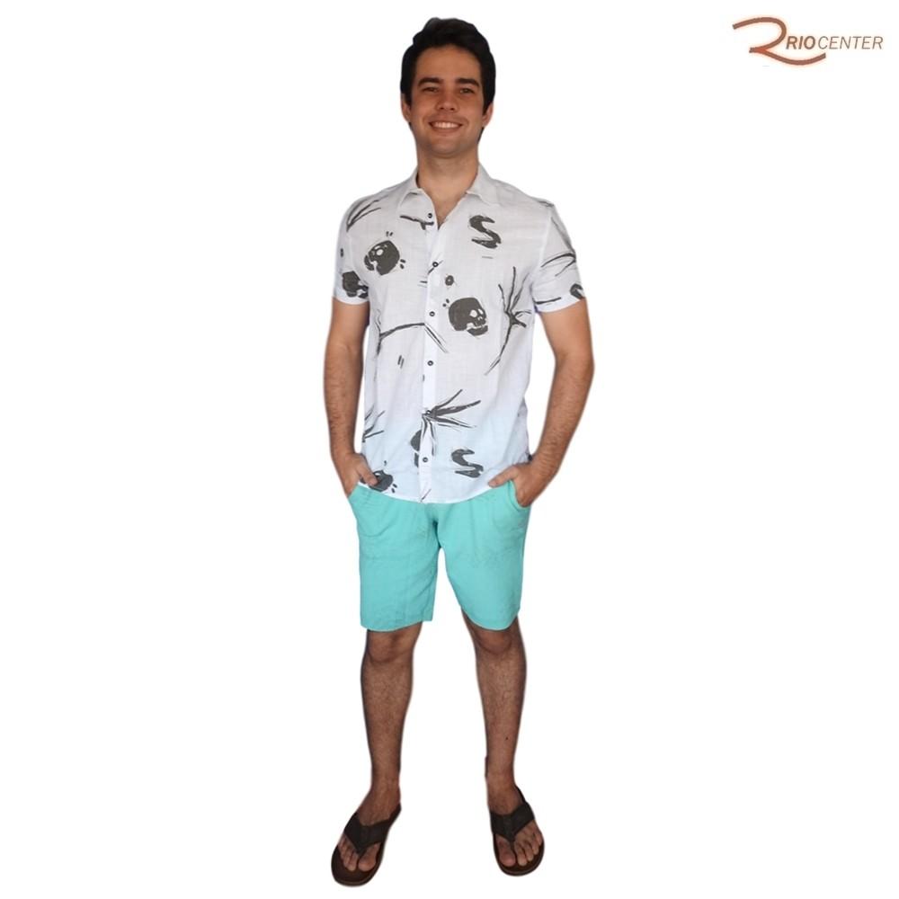 Camisa de Botão Saka Praia Branca Estampada