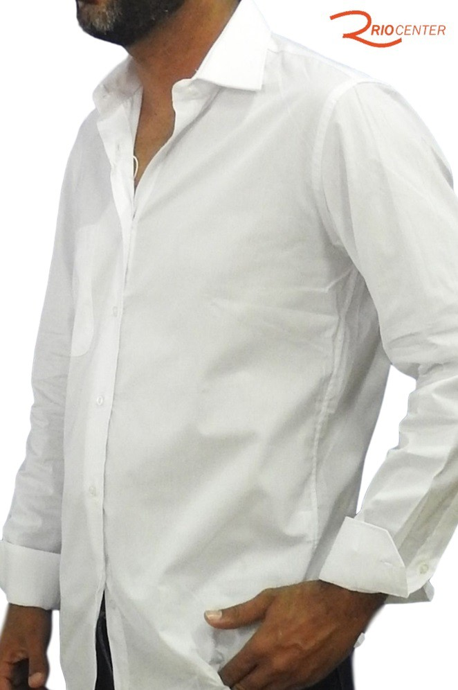 Camisa Fideli Classic Manga Longa Lisa Regular Fit Branca