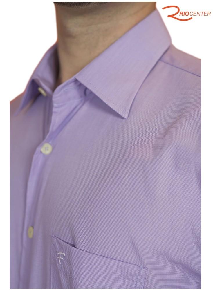 Camisa Fideli Manga Curta Lisa Lilás Regular Fit