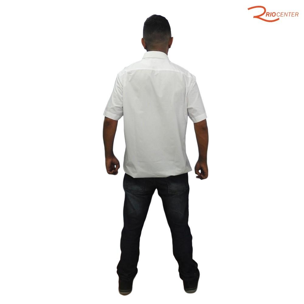 Camisa Individual Manga Curta Lisa Com Bolso Branca Em Algodão Egípcio