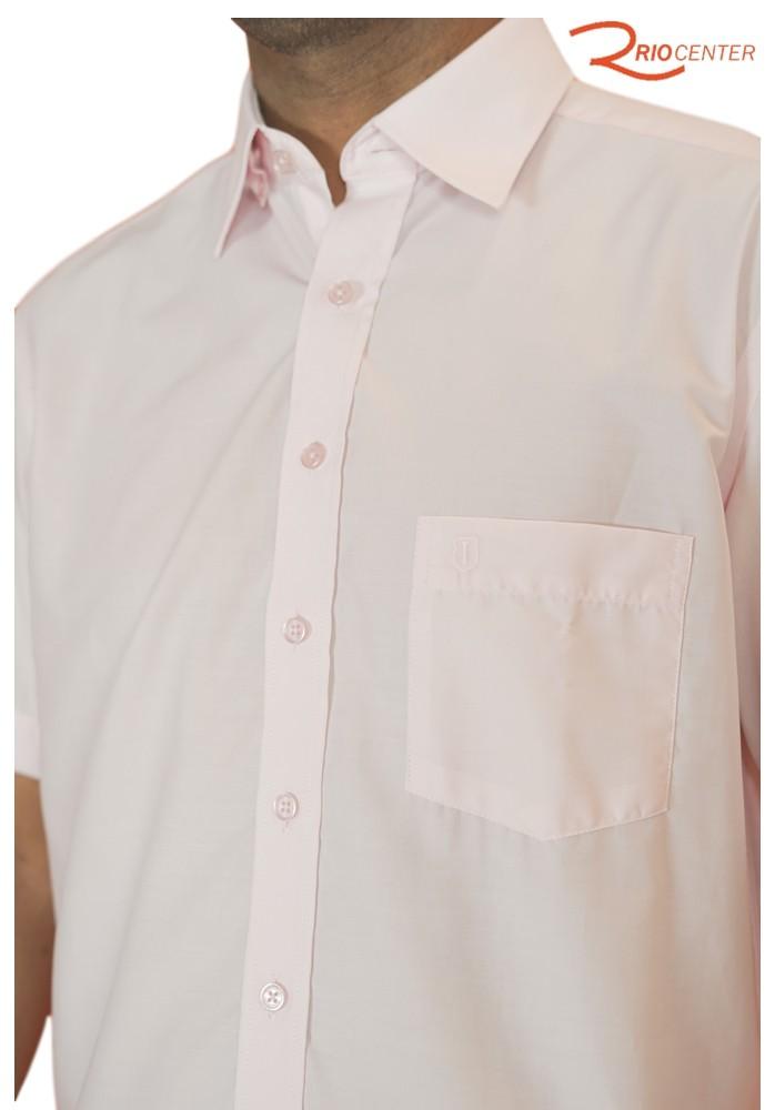 Camisa Individual Compose Manga Curta Lisa Com Bolso Salmão