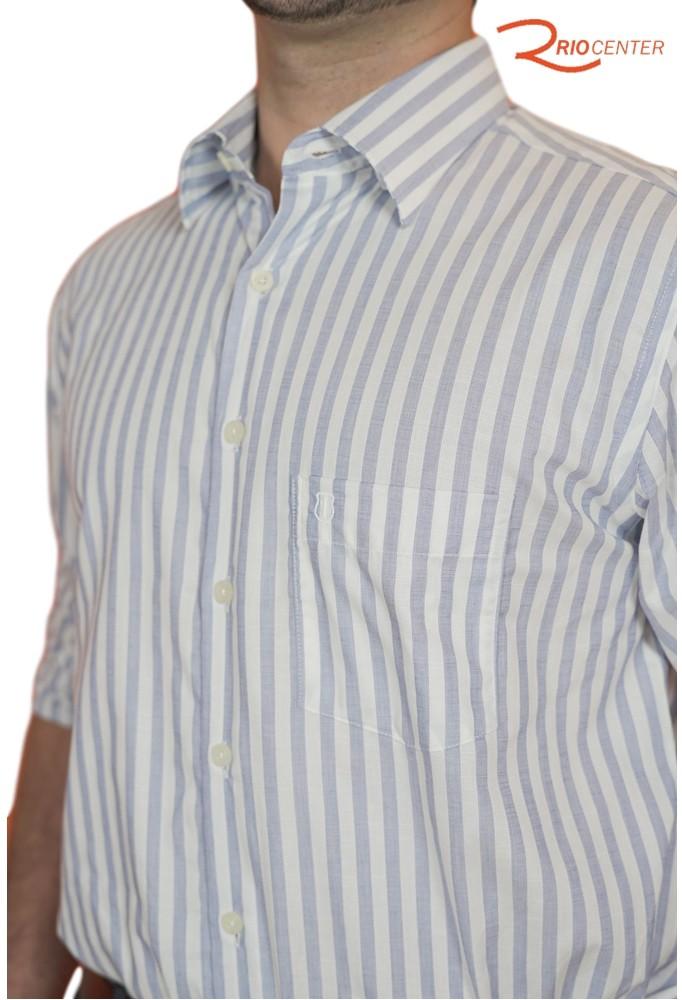 Camisa Individual Manga Longa Com Bolso Confort Fit Fio Tinto Listrada Em Algodão Egípcio