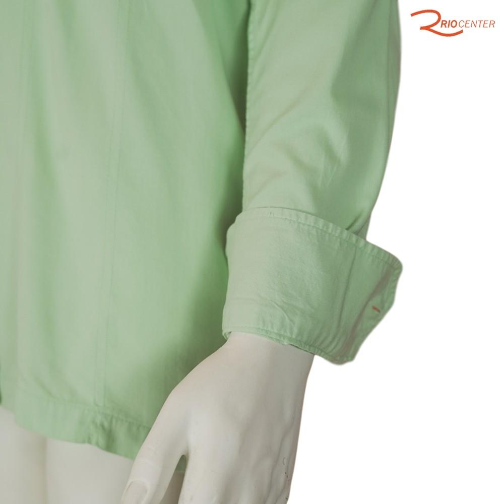Camisa Poggio Manga Longa Trendy Lisa Básica Verde