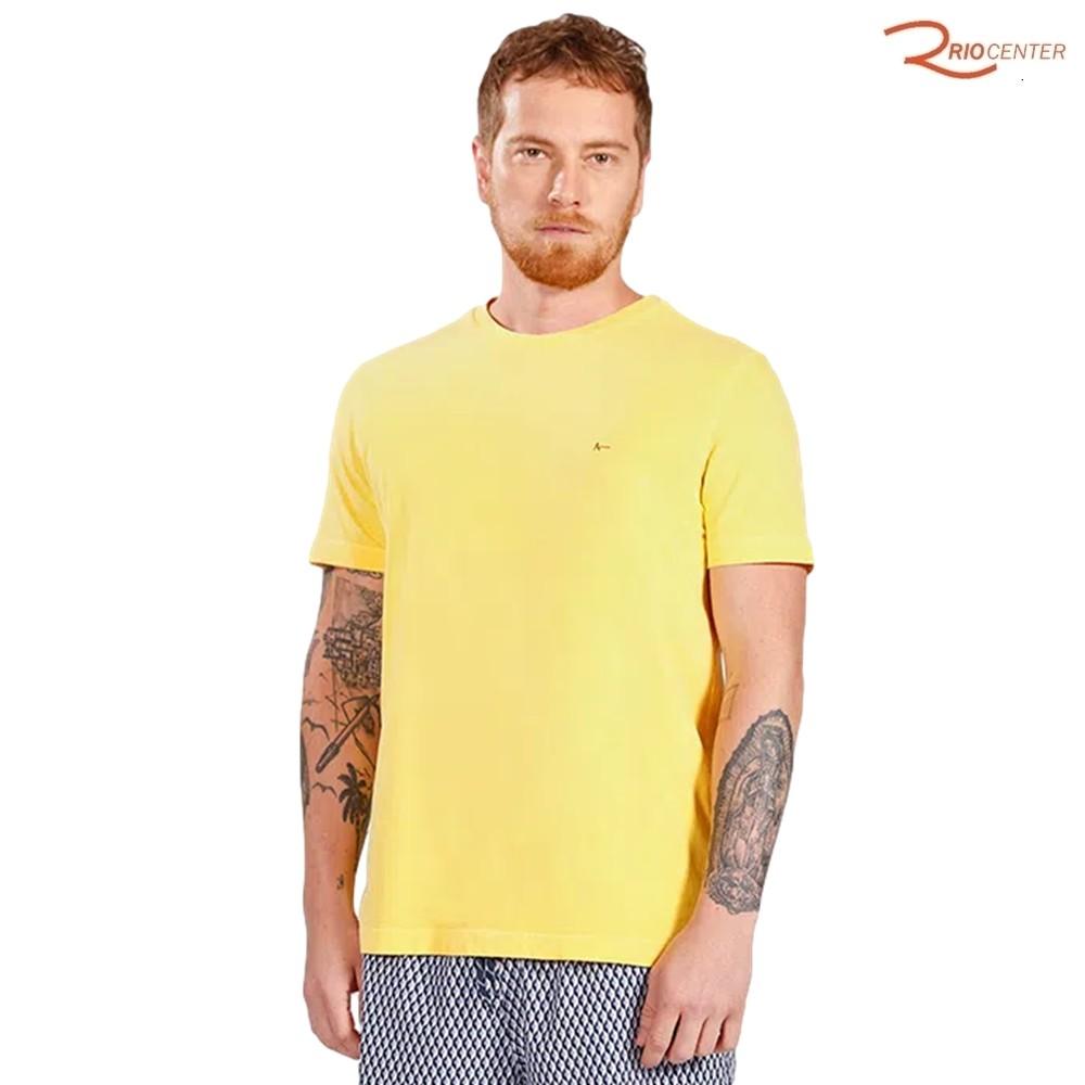 Camiseta Aramis Manga Curta Malha Stone Lisa Amarelo