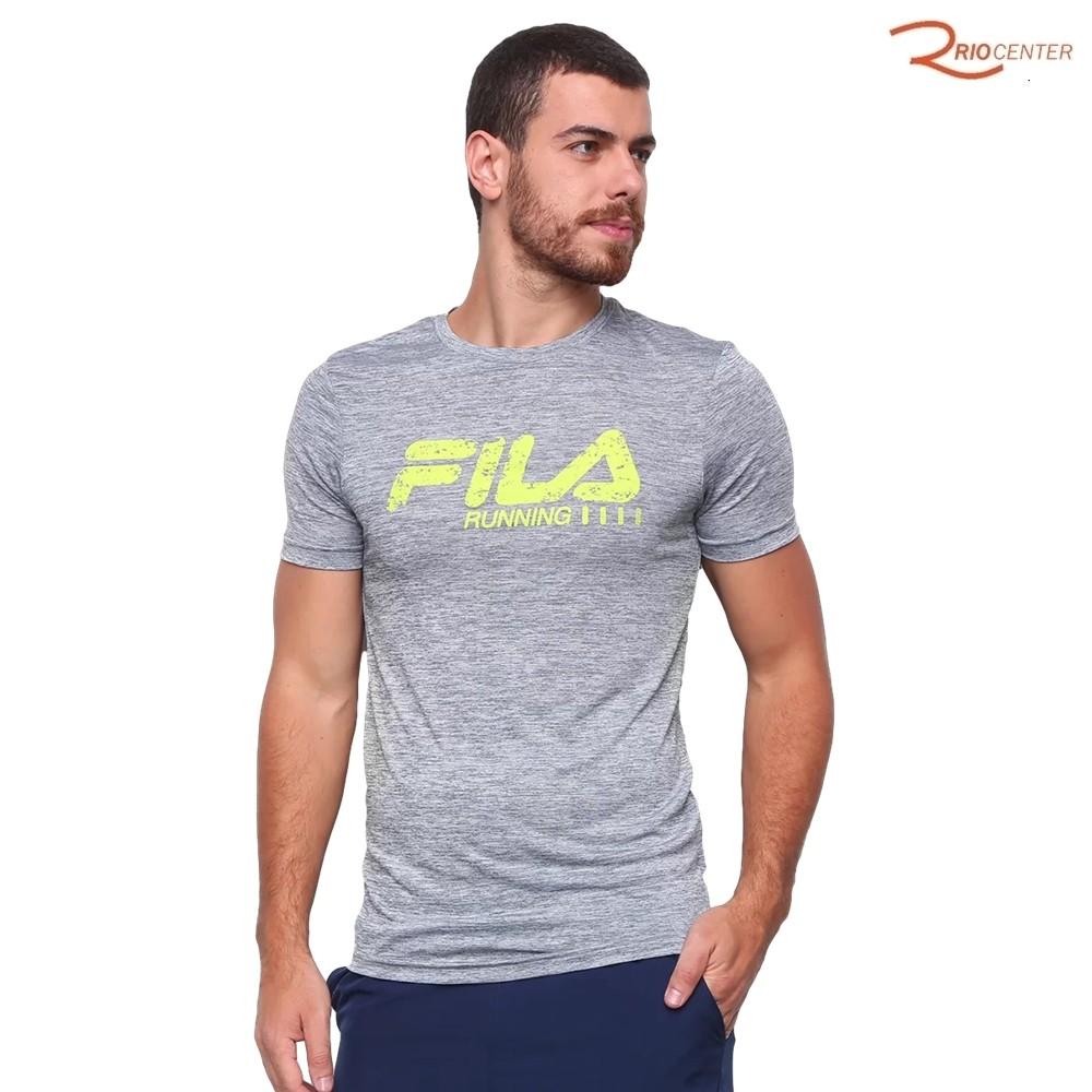 Camiseta Esportiva Run Bars Melange Fila Mescla Cinza