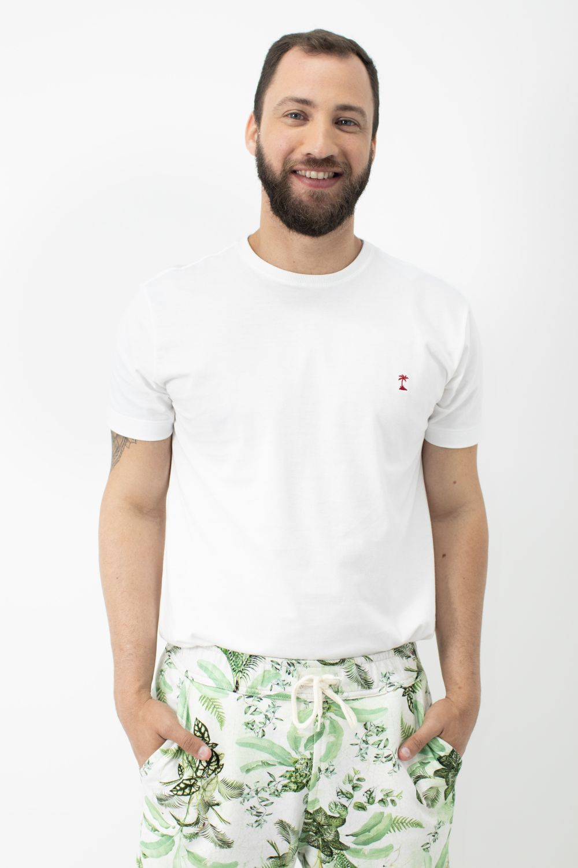 Camiseta Lisa com Gola Careca AD Branco