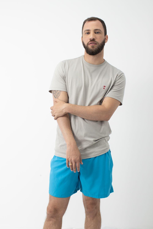 Camiseta Lisa com Gola Careca AD Cinza