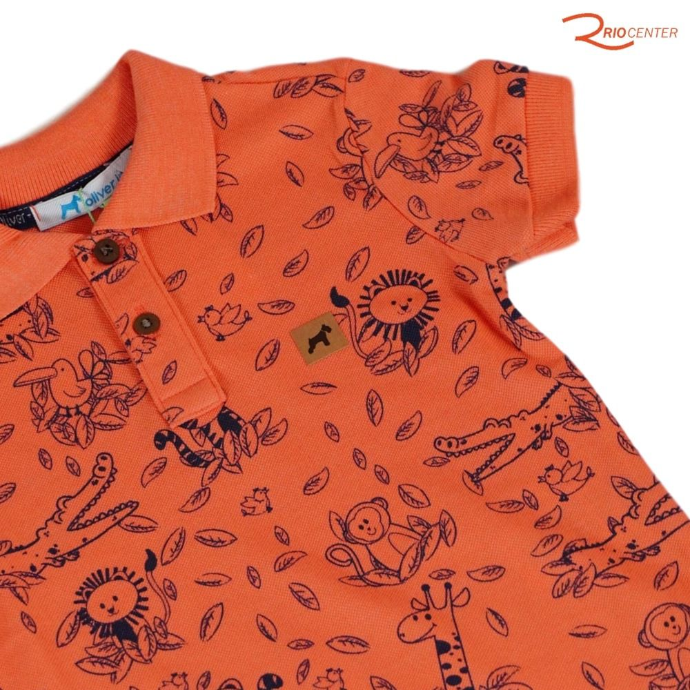 Camiseta Oliver Polo Laranja Estampada