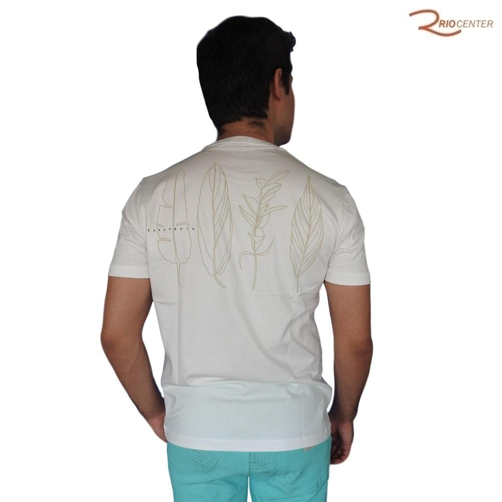 Camiseta Saka Praia Básica Lisa Off-white