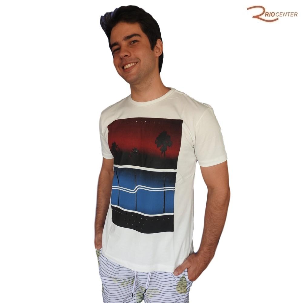 Camiseta Saka Praia Básica Off-White Estampada Natural