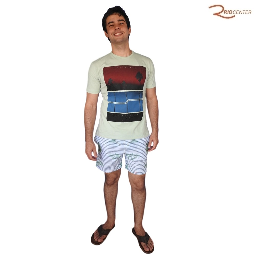 Camiseta Saka Praia Básica Verde Estampada Natural