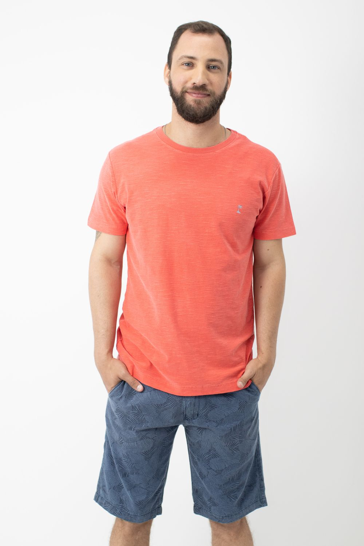 Camiseta Stone com Gola Careca AD Goiaba