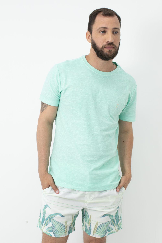 Camiseta Stone em Gola Careca AD Hortelã