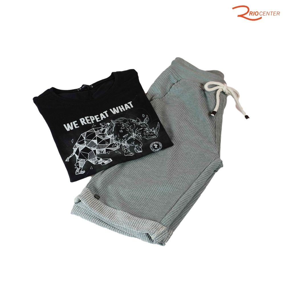 Conjunto Bermuda Bros Moletom e Camiseta Preta Com Estampa