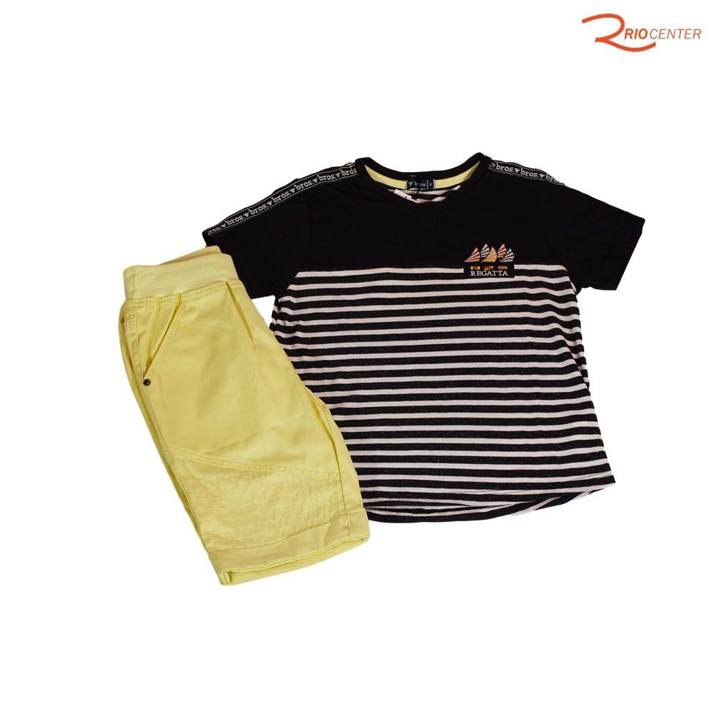 Conjunto Bermuda Bros Sarja e Camiseta Listrada