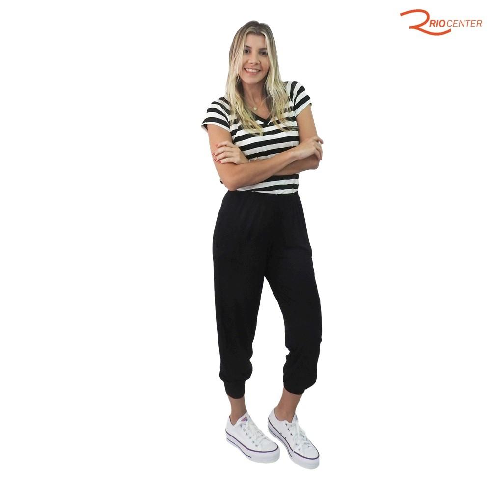 Conjunto Calça e Blusa Fragatta em Malha Decote em V Lisa - Preto com Listras
