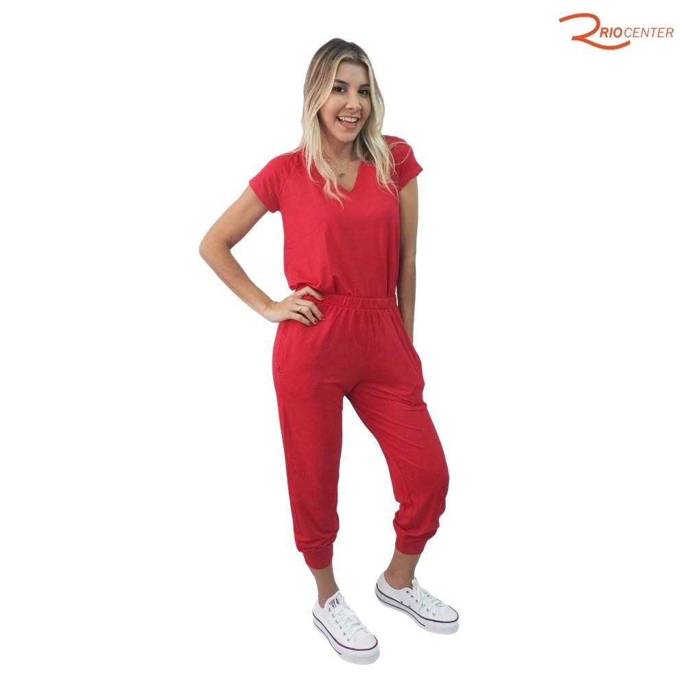 Conjunto Calça e Blusa Fragatta em Malha Decote em V - Vermelho