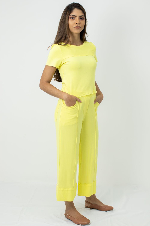 Conjunto Cropped Básico e Pantcourt Moletinho Moça Bonita Amarelo
