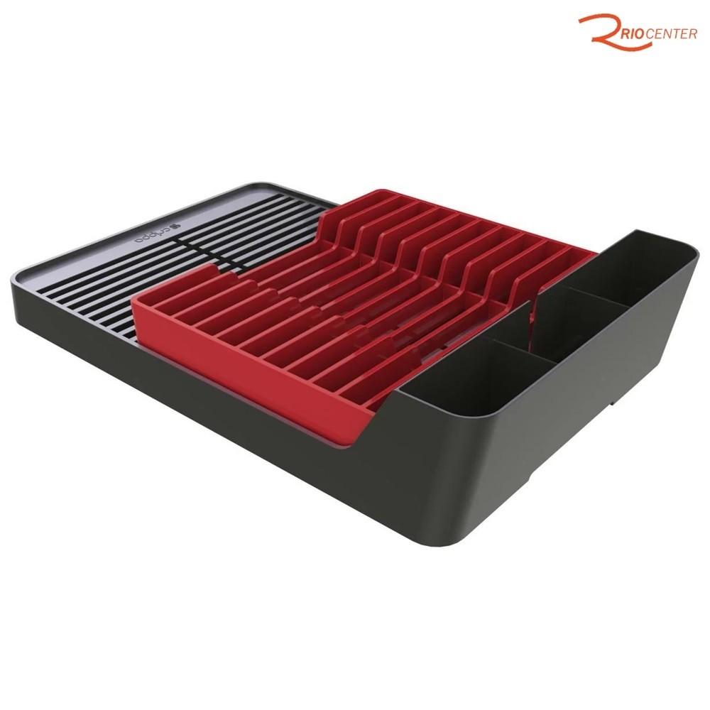 Escorredor Crippa Smart Em Poliestireno Preto com Vermelho