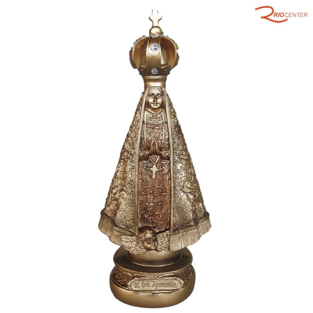 Escultura Carvalho Nossa Senhora Aparecida Dourada 22 cm