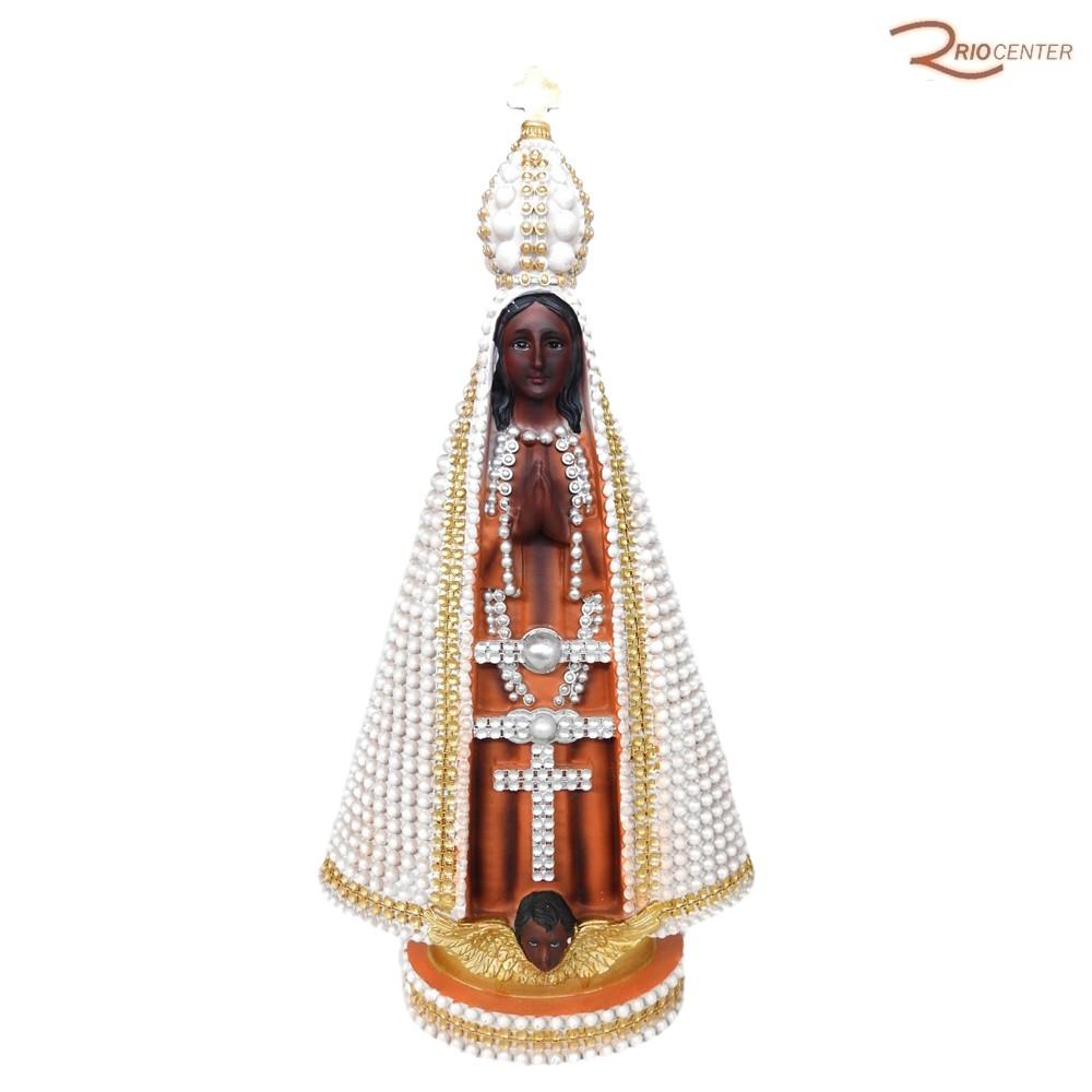 Escultura Iracem de Nossa Senhora Aparecida com Perolas Branca 40 cm