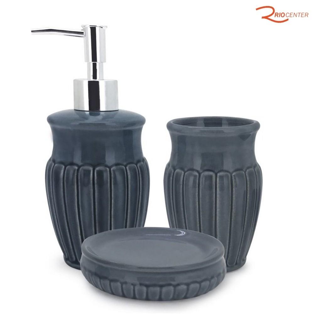 Jogo de Banheiro Mimo Style Marine Cerâmica 3 Peças