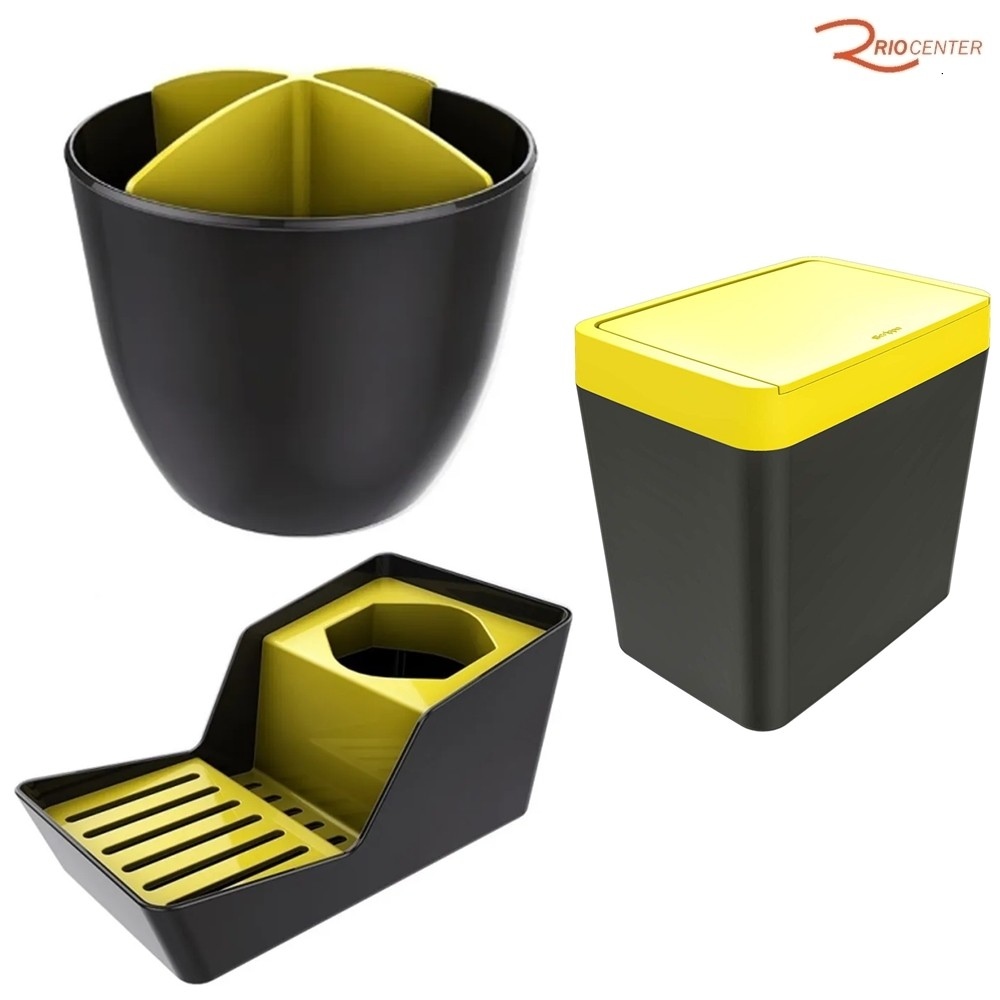 Kit Crippa Amarelo Escorredor de Talher + Lixeira de Pia + Organizador de Pia