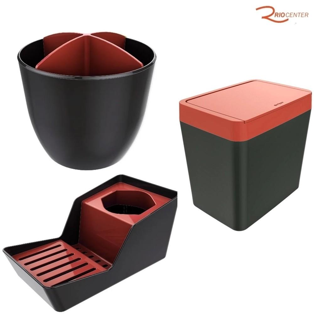 Kit Crippa Vermelho Escorredor de Talher + Lixeira de Pia + Organizador de Pia