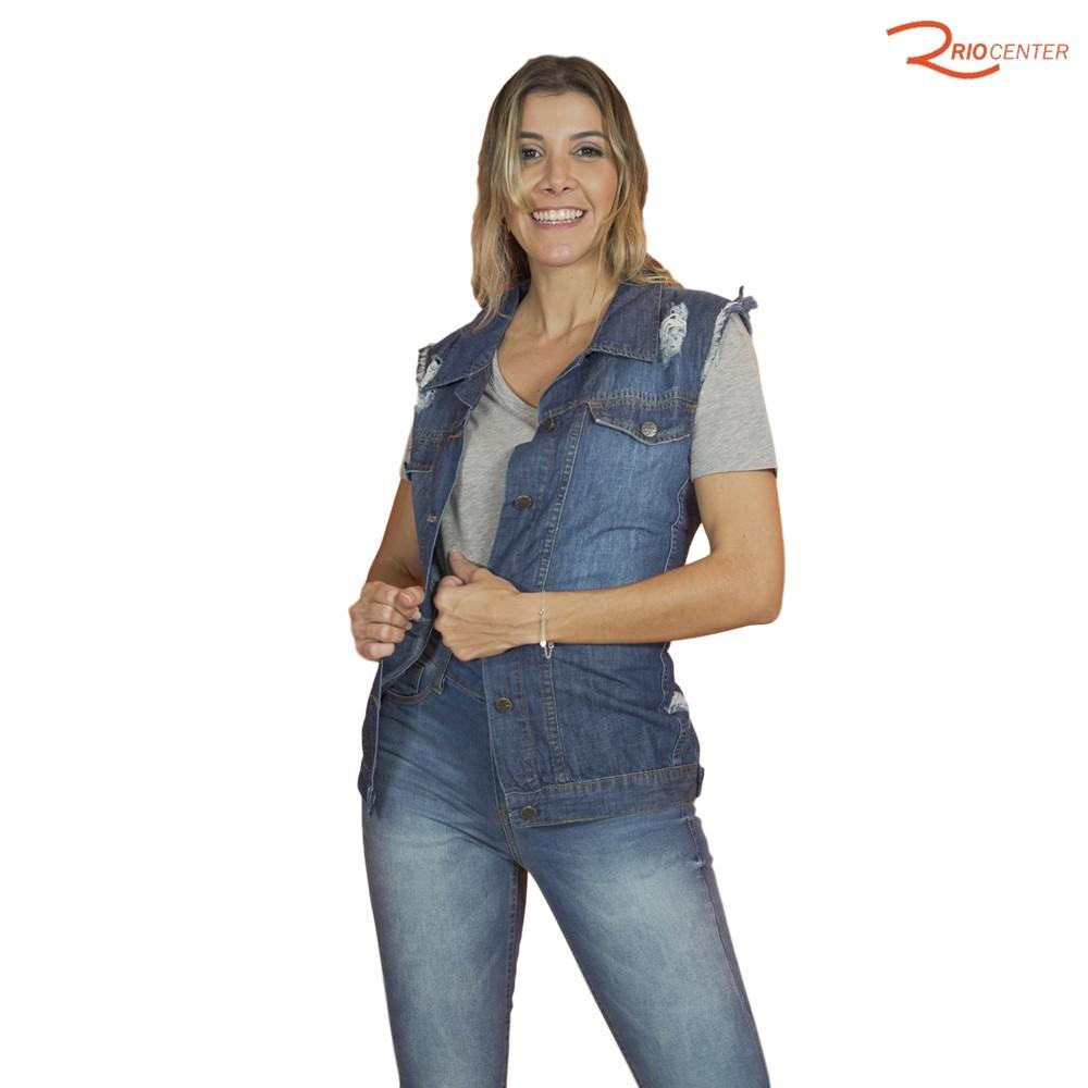 Max Colete Jeans Buzzy Desgastado