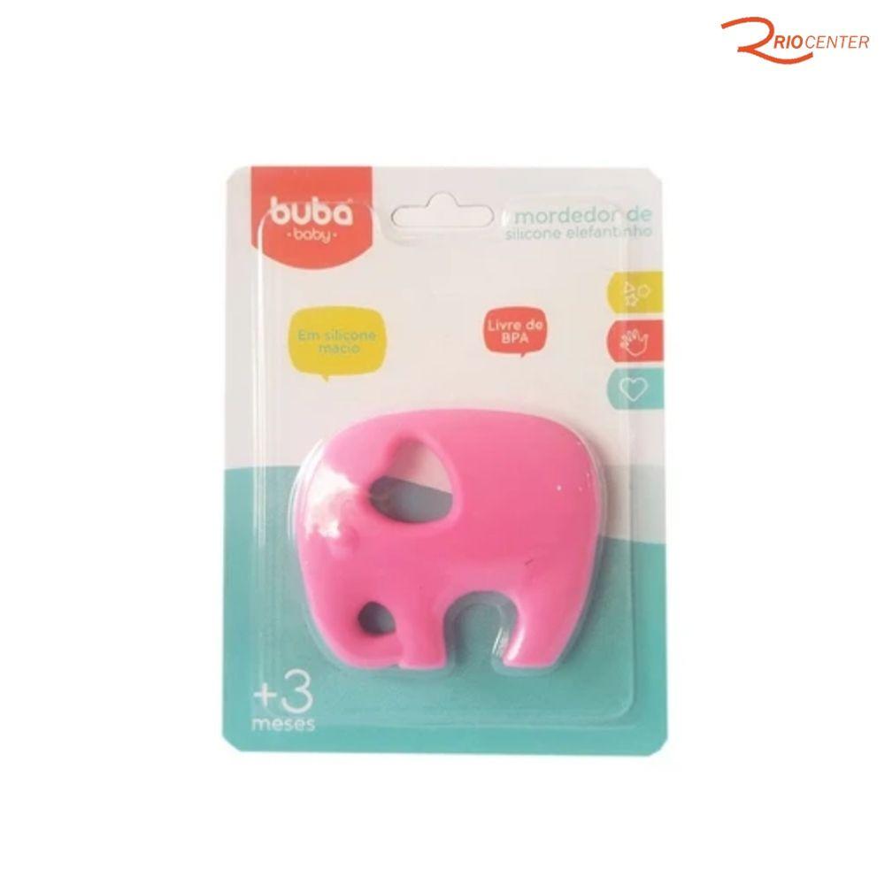 Mordedor de Silicone Elefantinho Buba Baby Rosa