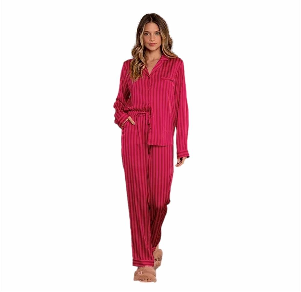 Pijama Longo Aberto Lua Lua Rosa