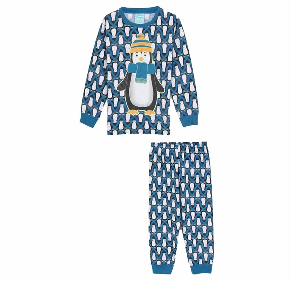 Pijama Longo Pinguim Kyly Azul