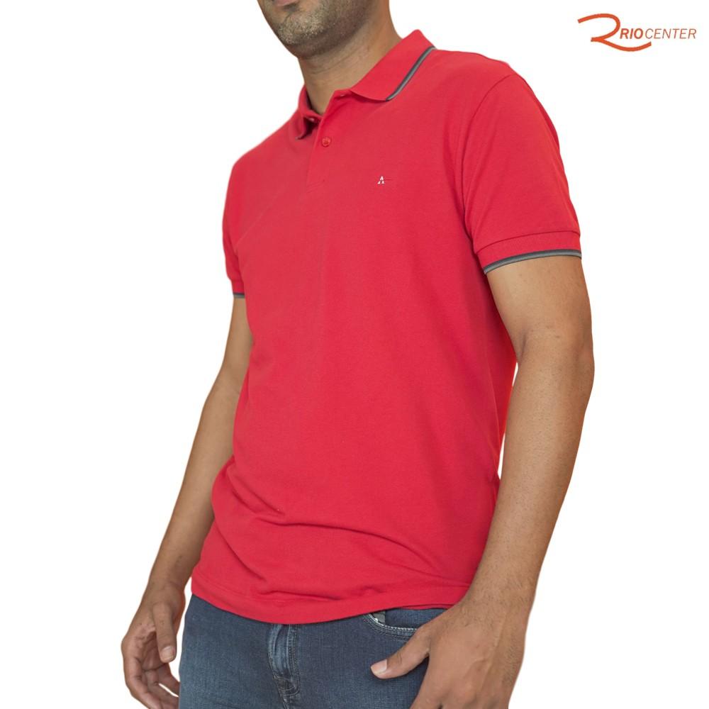 Polo Aramis Vermelha Básica Manga Curta Com Friso