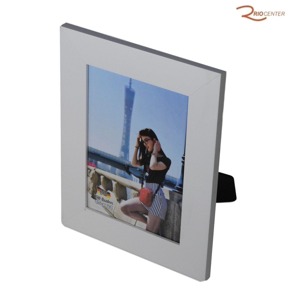 Porta Retrato BW Quadros 15x21 Borda Lisa Reta Branca