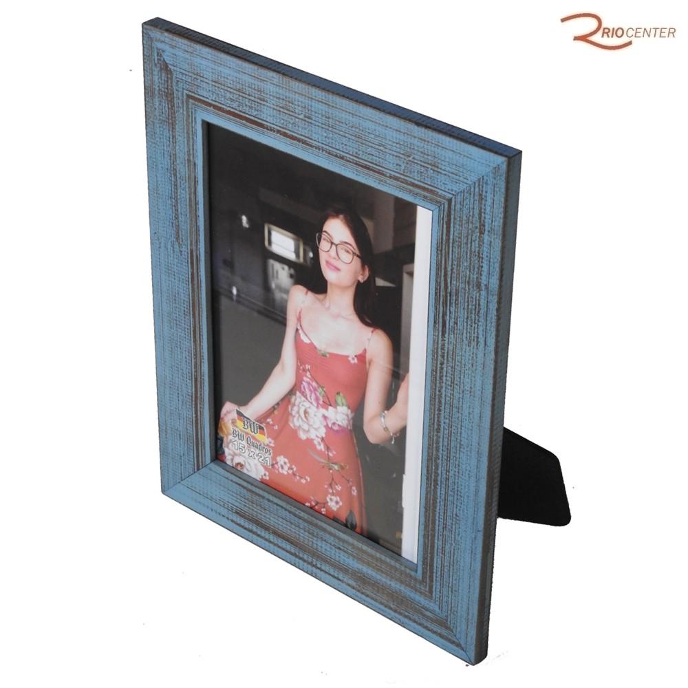Porta Retrato BW Quadros 15x21 Borda Rústica Reta Azul
