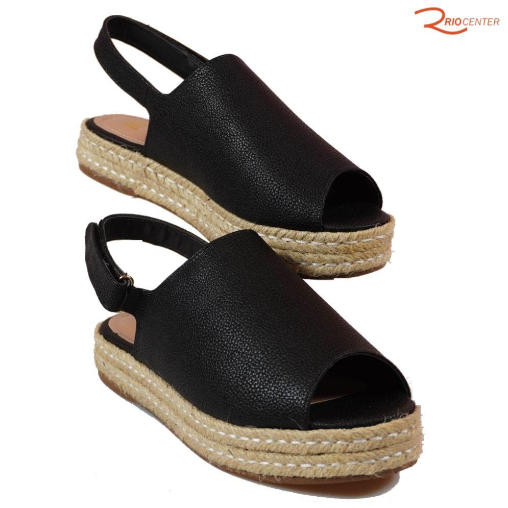 Sandália MS Com Velcro E Salto Baixo Veneza Preto