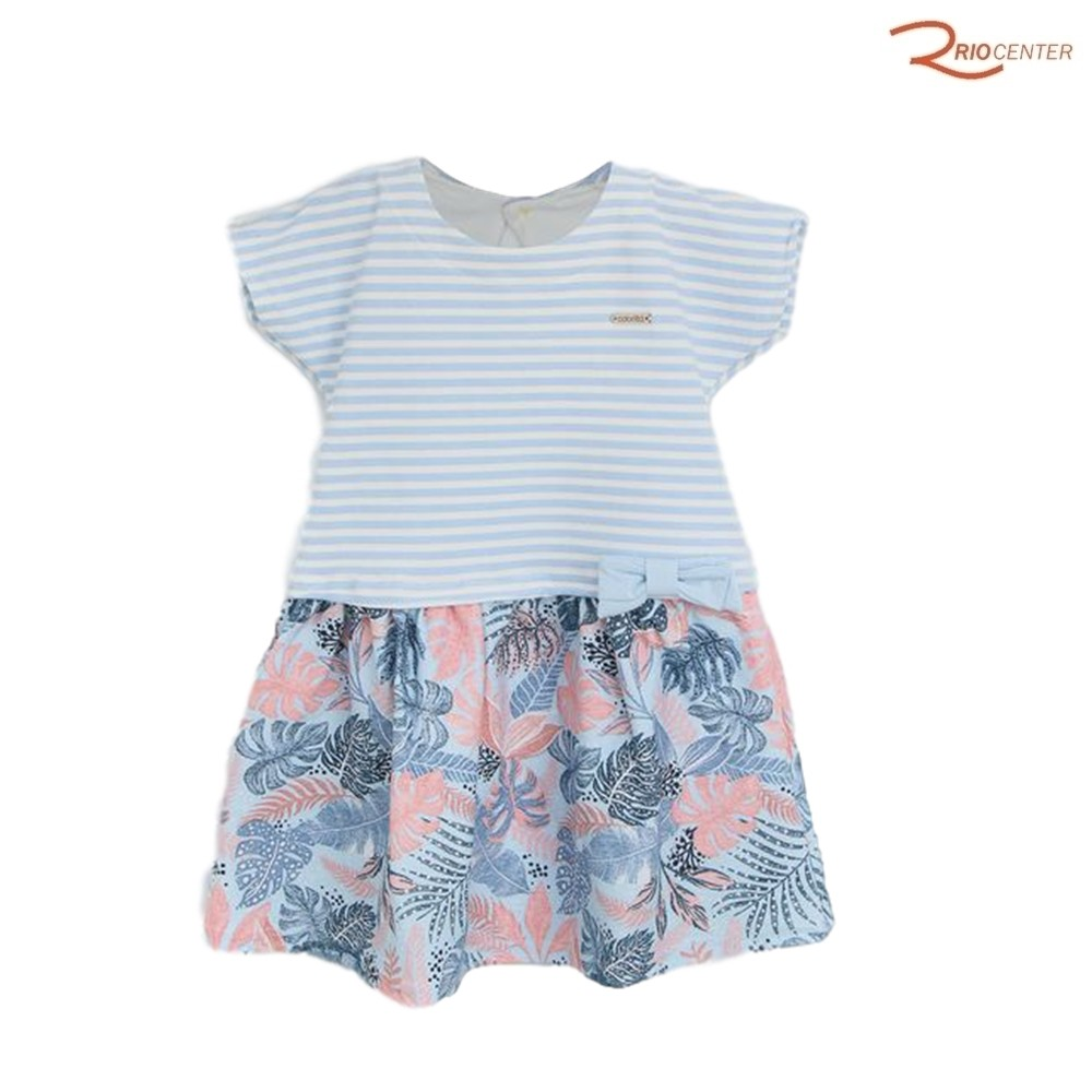 Vestido Colorittá Infantil Folhagem Azul/Rosa