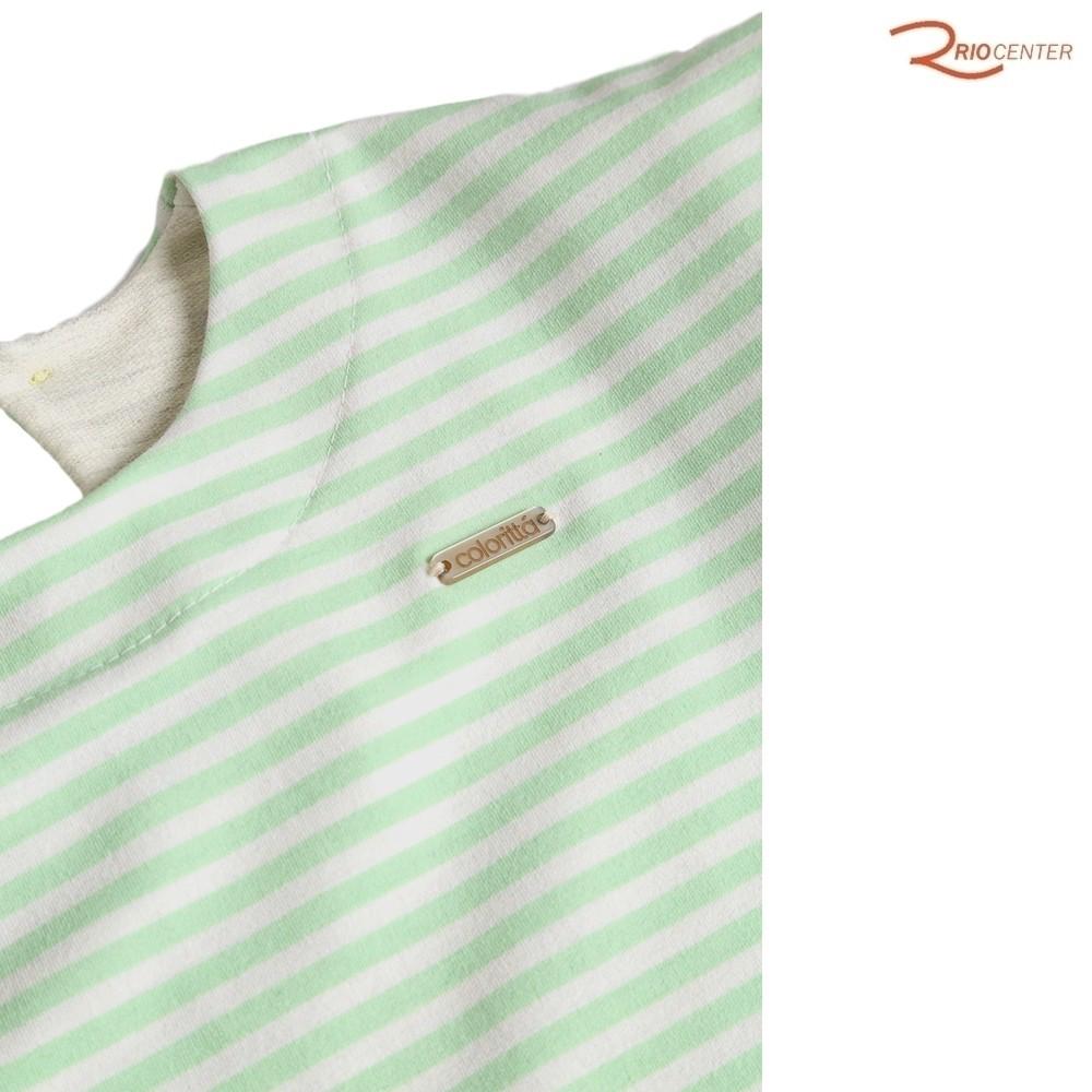 Vestido Colorittá Infantil Folhagem Verde/Off-White