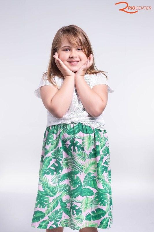 Vestido Com Blusa Momi Em Malha Com Estampa Folhas Verdes