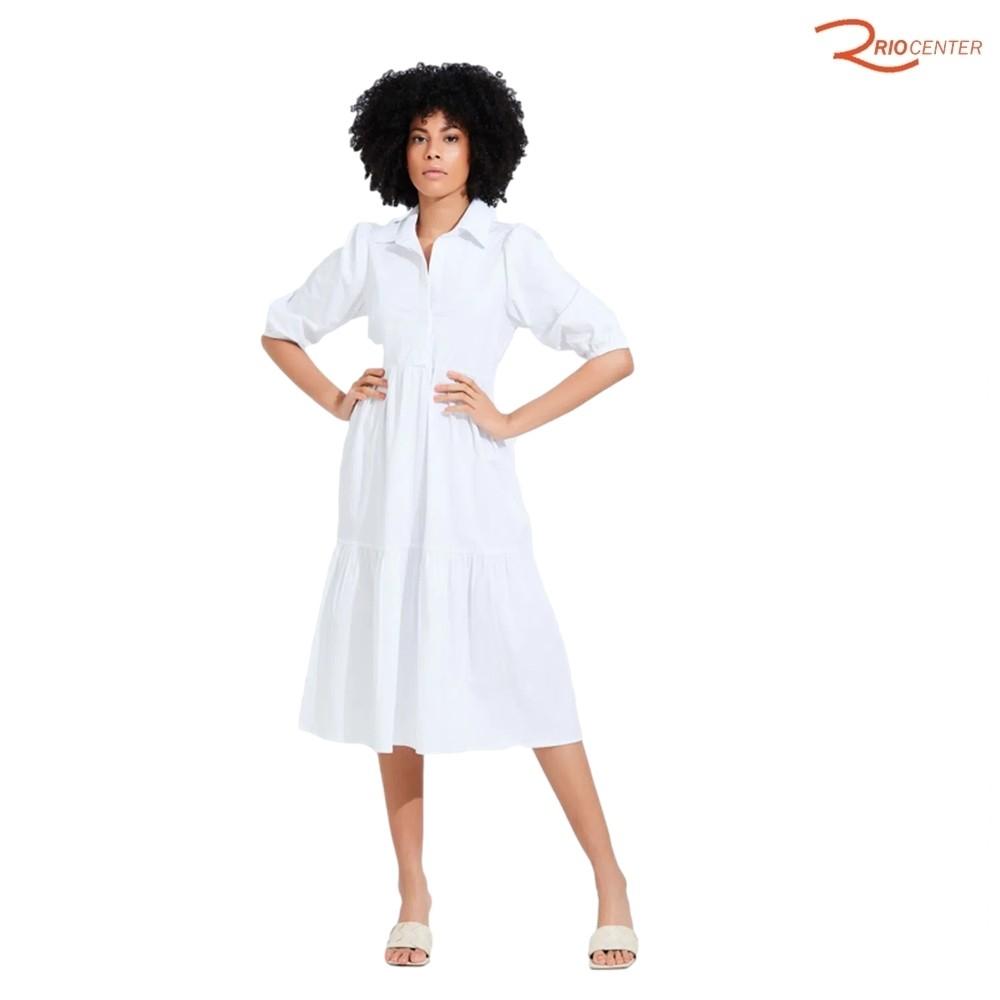 Vestido Cor Doce Manga Bufante Tricoline Camadas Branco