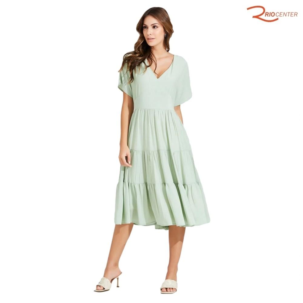 Vestido Cor Doce Midi Viscose Decote V Verde
