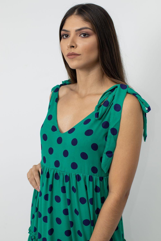 Vestido Esmeral Longo Sem Manga Poá