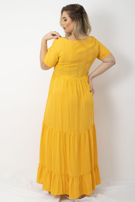 Vestido Longo em Viscose Liso Moça Bonita Amarelo