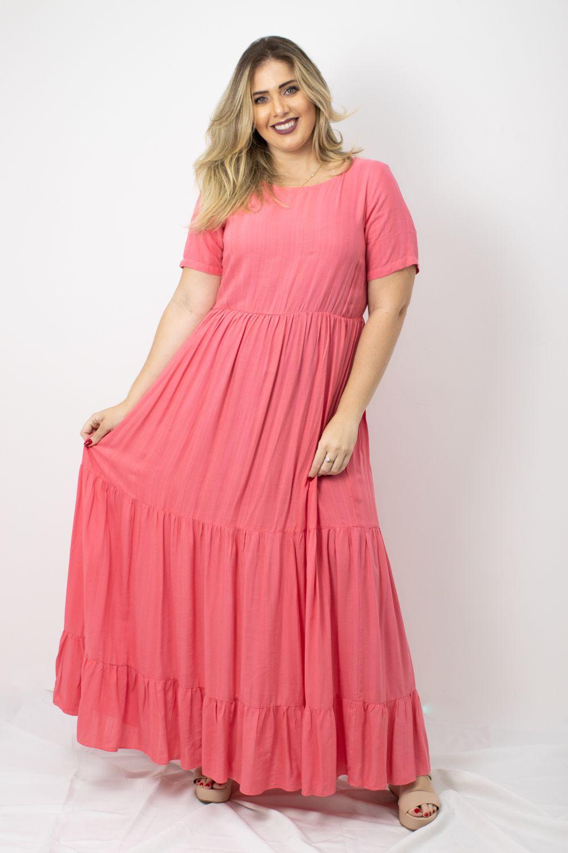 Vestido Longo em Viscose Liso Moça Bonita Salmão