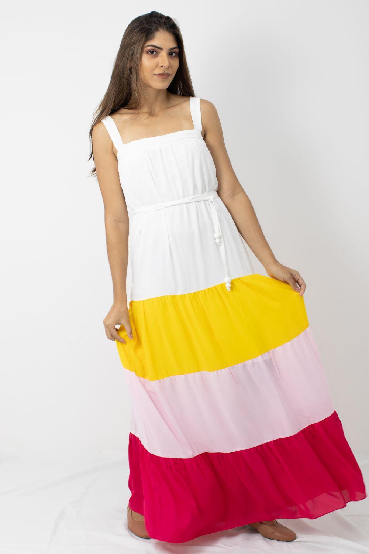 Vestido Longo Sem Mangas  Cheroy Color Block