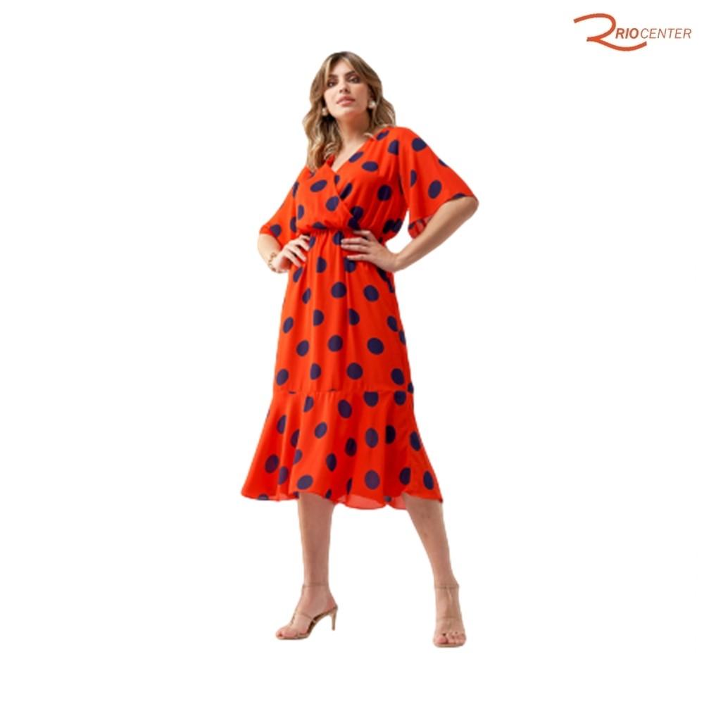Vestido Simple Life Manga Curta Poa Vermelho