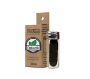 Fio Dental Ecológico - Carvão Ativado (com embalagem reutilizável de vidro) | Orgânico Natural - 30m