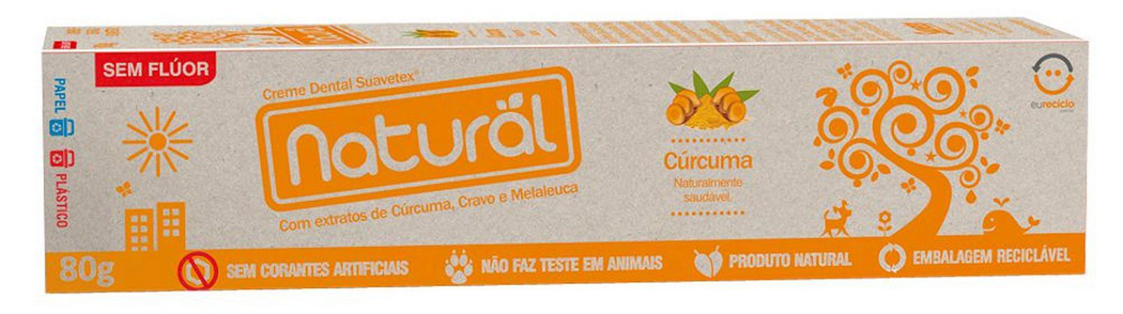 Creme Dental Natural de Cúrcuma, Cravo e Melaleuca| Or. Natural - 80g